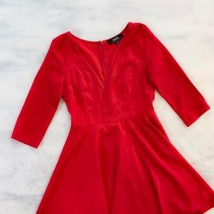 Lulu's Dresses - Red Long Sleeve Skater Skirt Dress Lulus